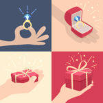 Set of vector cartoon illustrations of hands with gifts with one displaying a sparkling diamond ring, one holding a red gift box, one a larger sparkling red box and a sparkling ring in a jewellery box