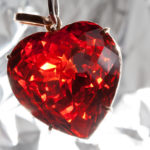 Red presious stone pendant in heart shape Ruby heart-shaped precious stone